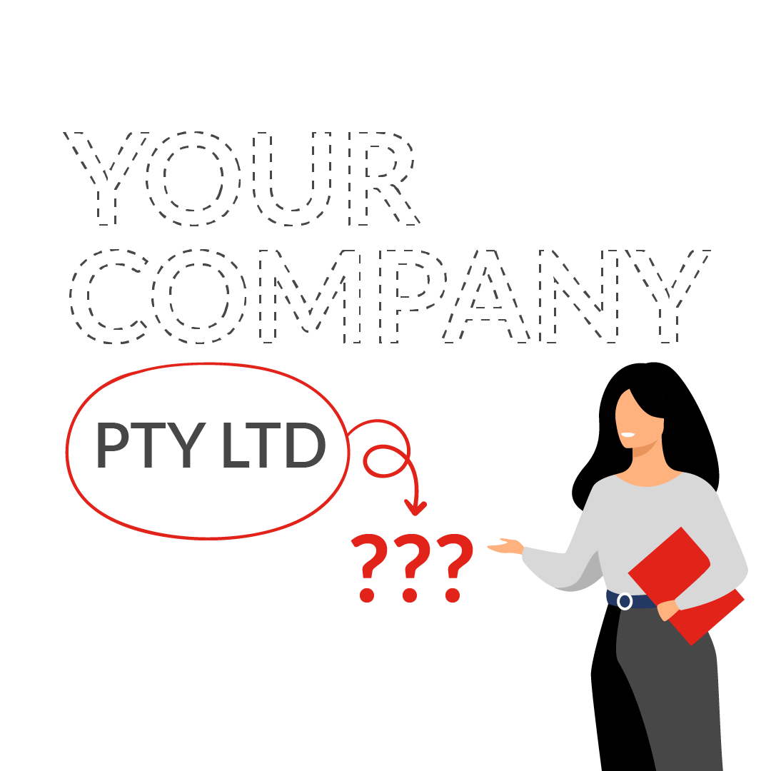 business lady putting a question mark around PTY LTD and what it means