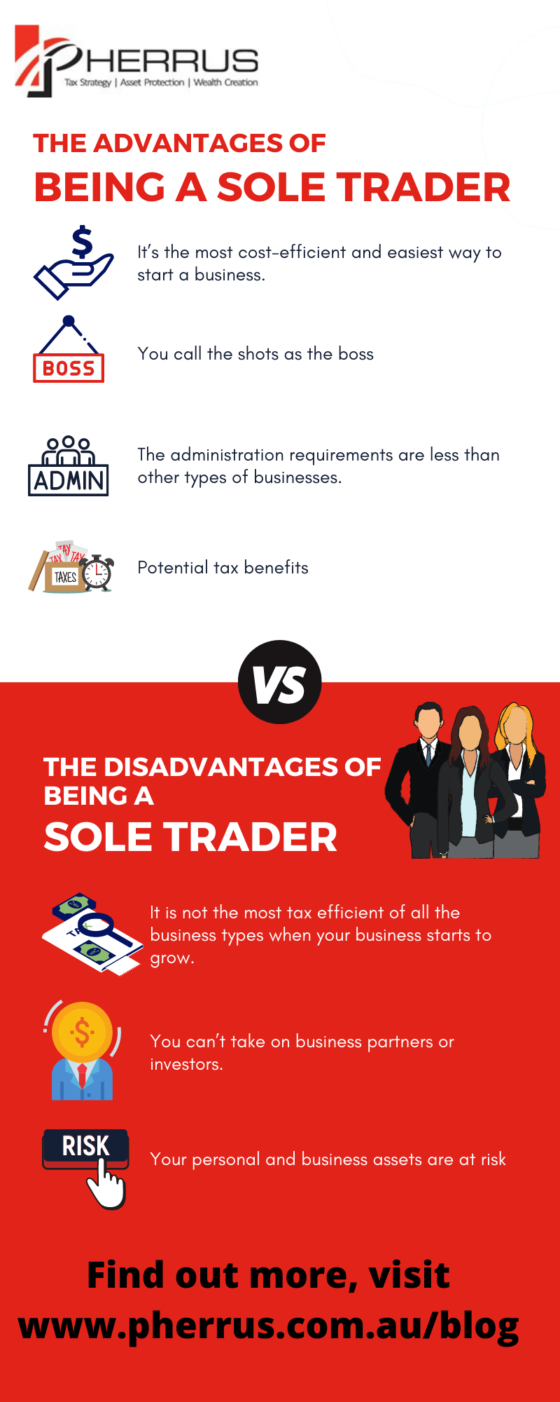 Sole Trader advantages Infographic